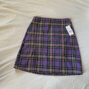 Purple plaid miniskirt (tight w/ side slits)